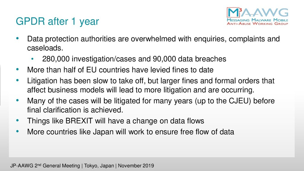 GPDR after 1 year • Data protection authorities...