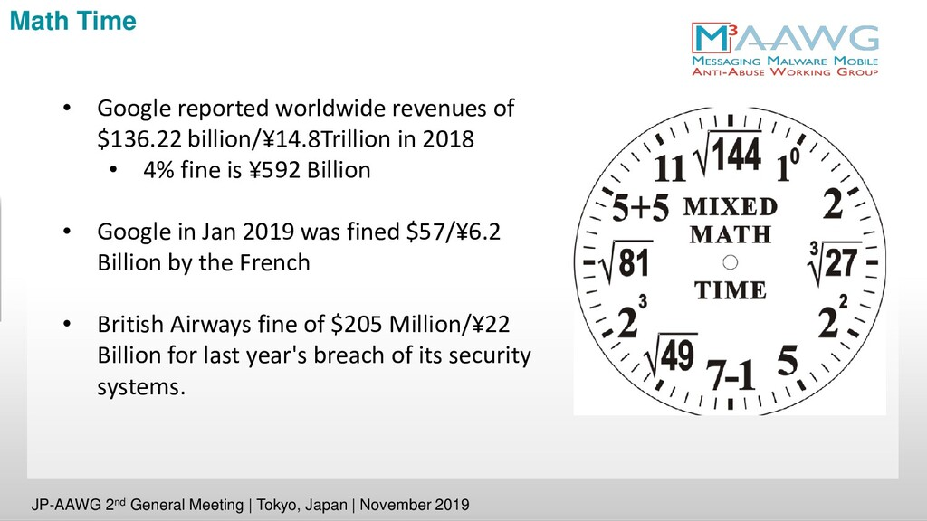 Math Time • Google reported worldwide revenues ...