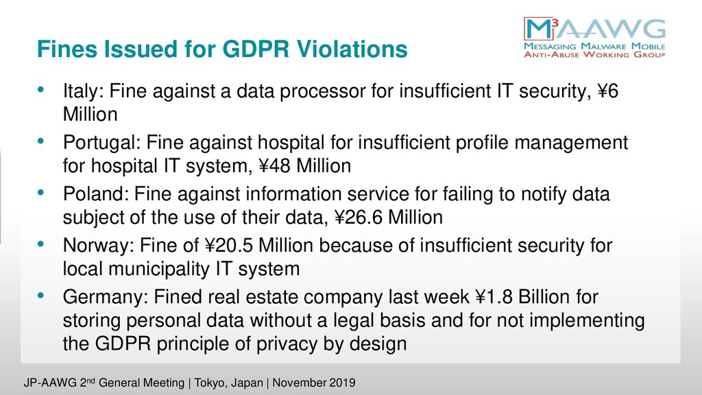 Fines Issued for GDPR Violations • Italy: Fine ...
