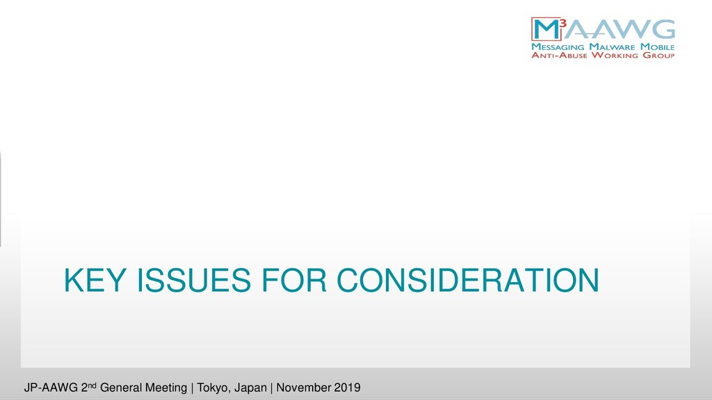 KEY ISSUES FOR CONSIDERATION JP-AAWG 2nd Genera...