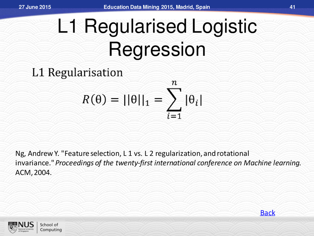 L1 Regularised Logistic Regression Ng, Andrew Y...