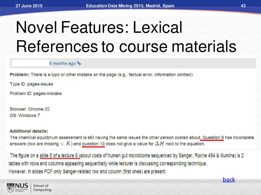 Novel Features: Lexical References to course ma...