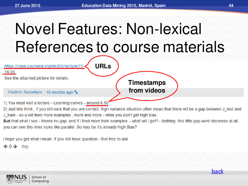 Novel Features: Non-lexical References to cours...