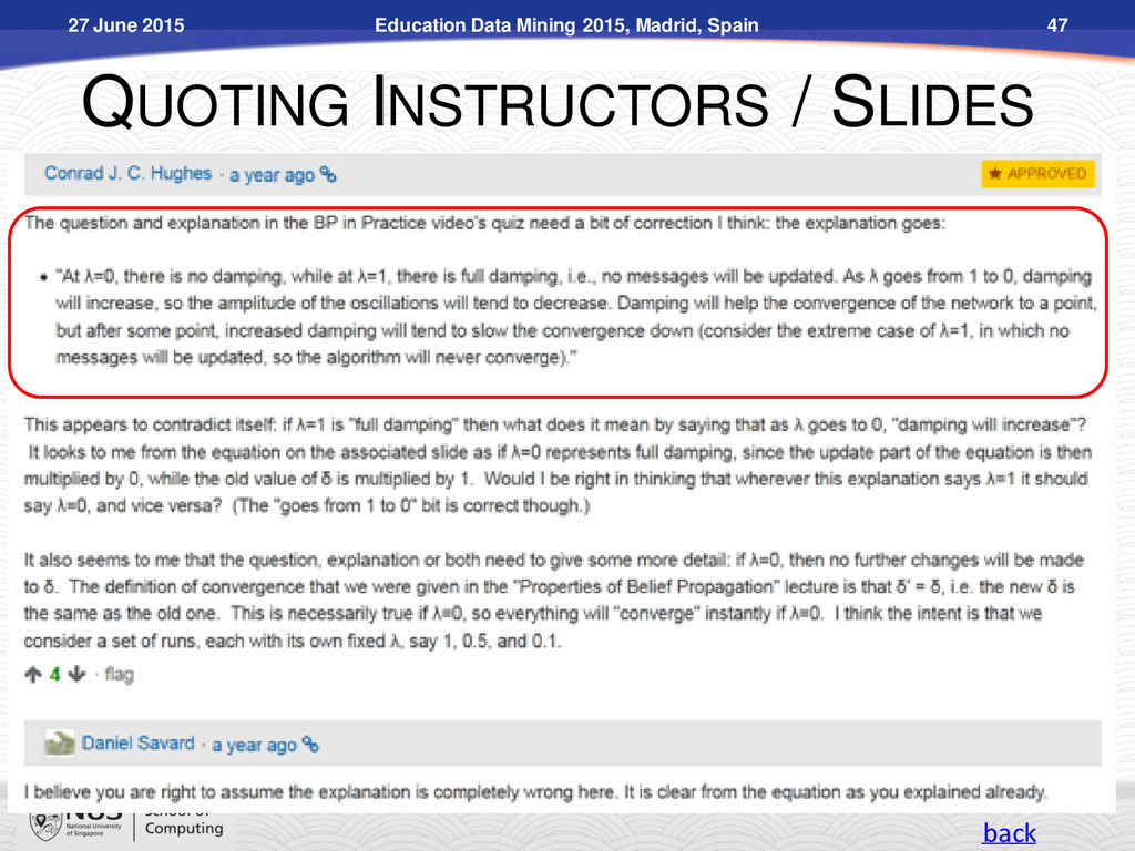QUOTING INSTRUCTORS / SLIDES Education Data Min...
