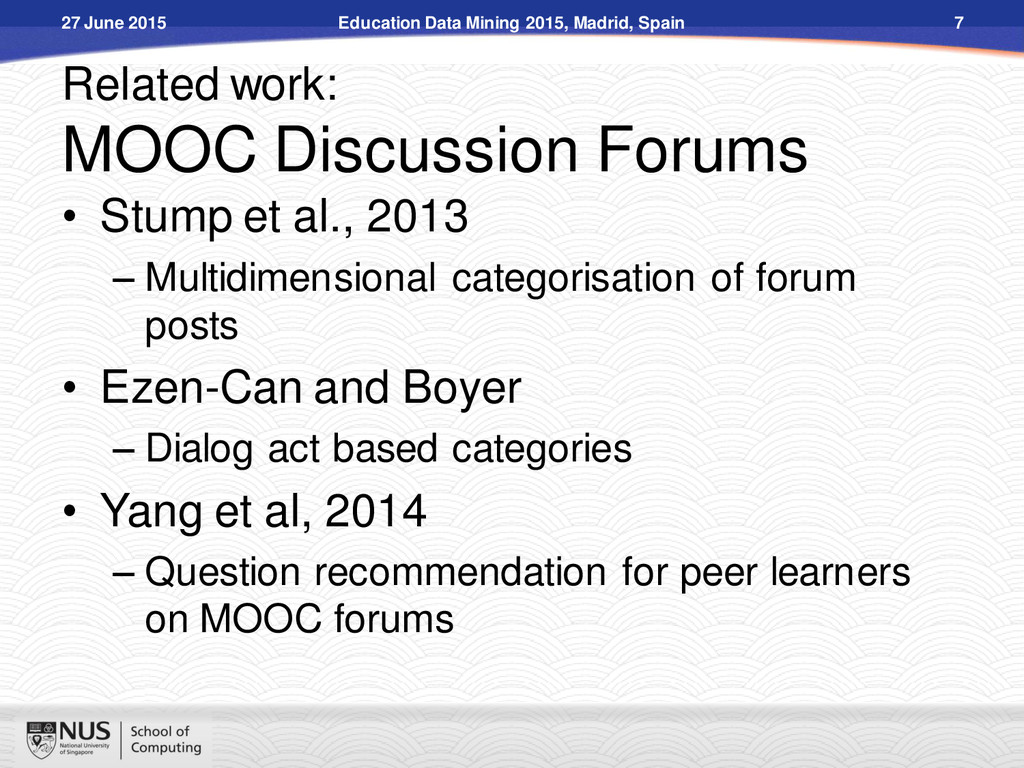 Related work: MOOC Discussion Forums 27 June 20...