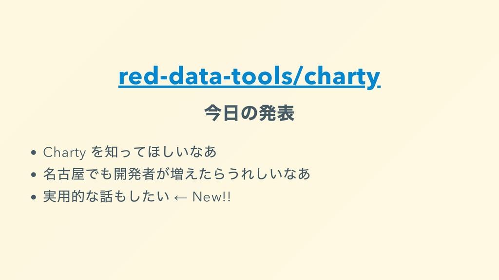 red-data-tools/charty 今⽇の発表 Charty を知ってほしいなあ 名古...