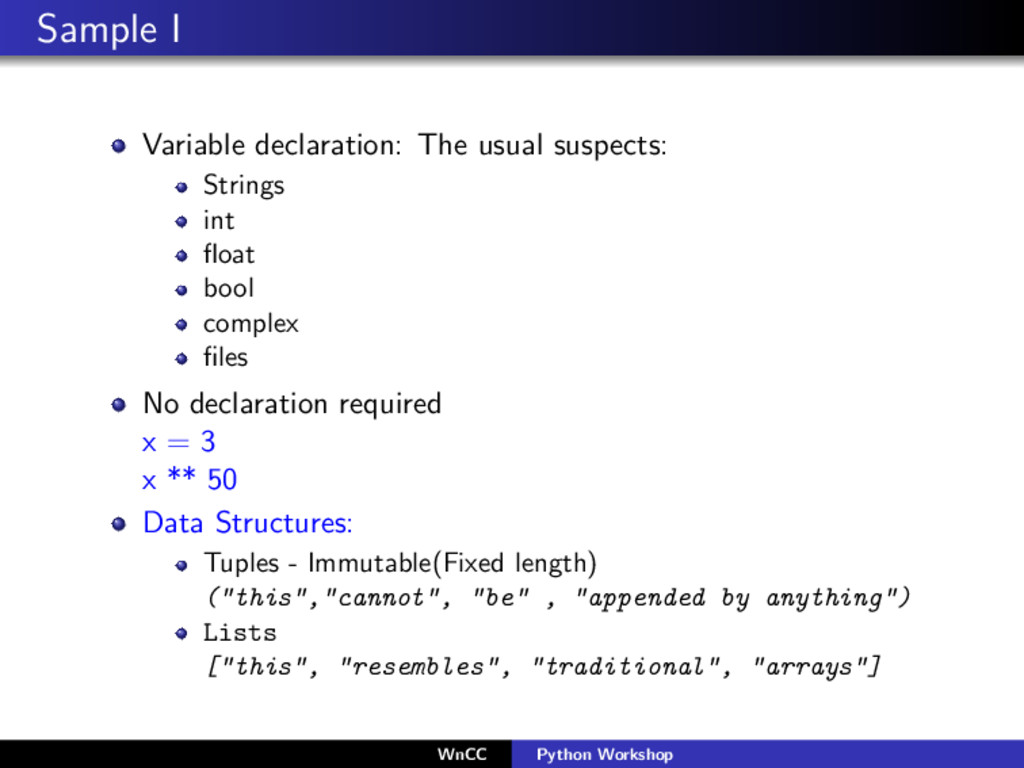 Sample I Variable declaration: The usual suspec...