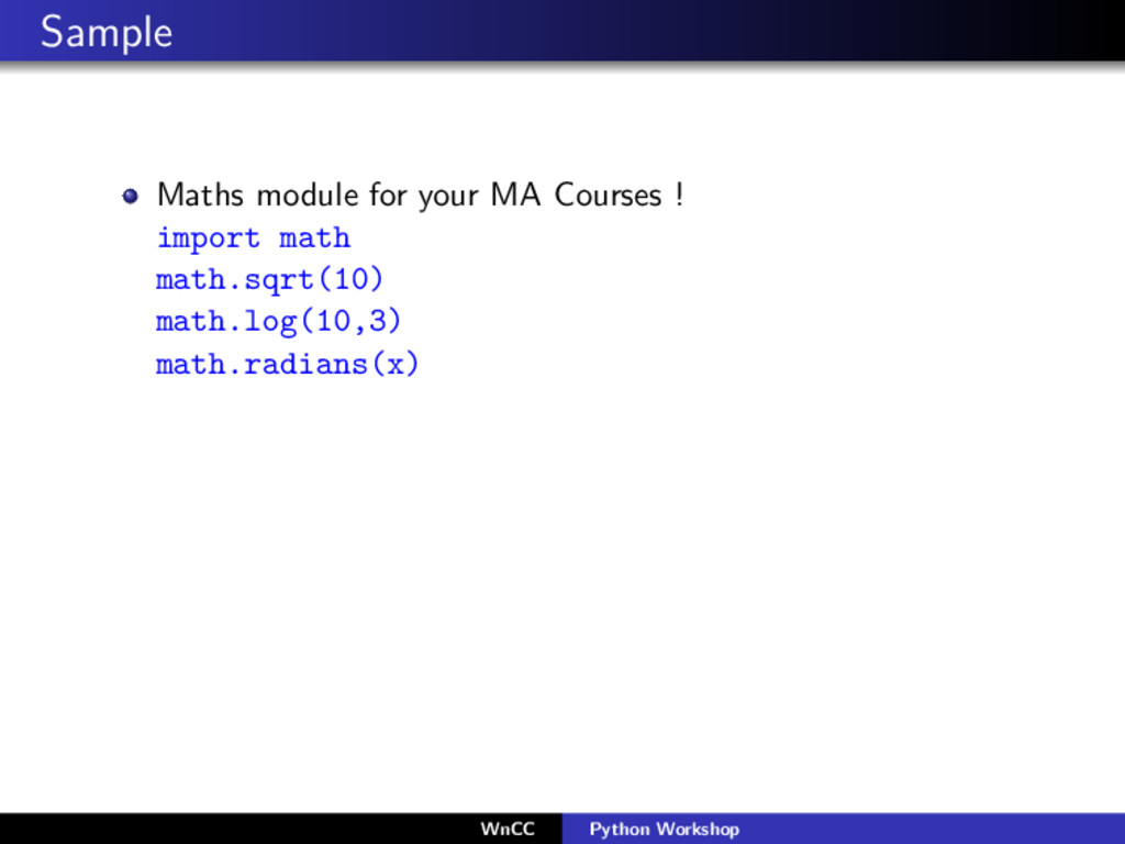 Sample Maths module for your MA Courses ! impor...