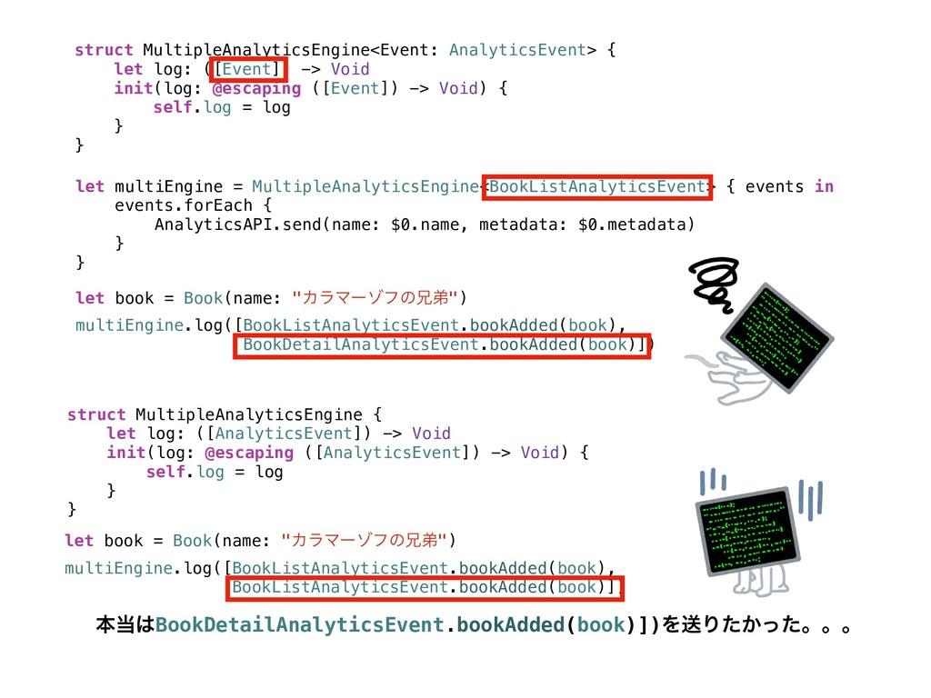 struct MultipleAnalyticsEngine<Event: Analytics...