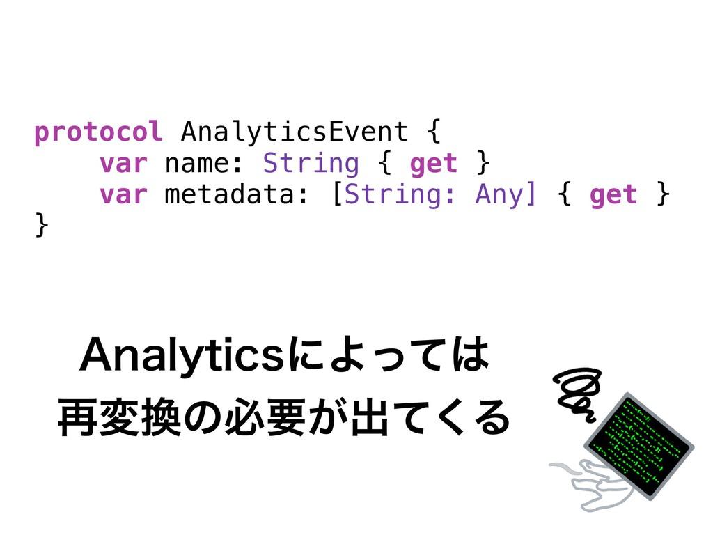 protocol AnalyticsEvent { var name: String { ge...