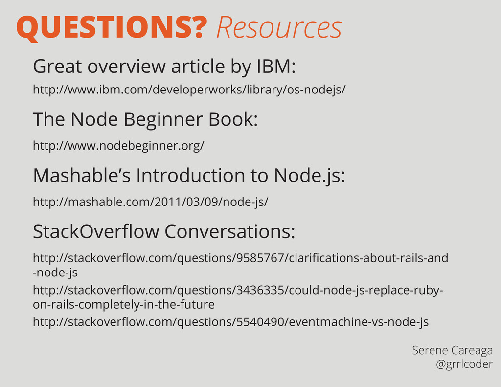 QUESTIONS? Resources Great overview article by ...
