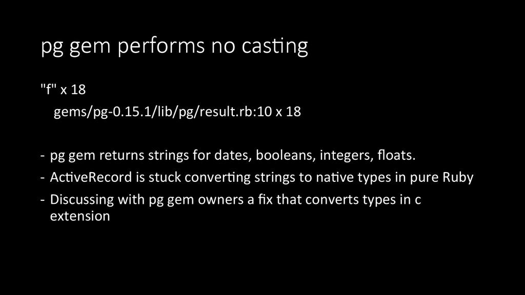 """pg gem performs no casIng """"f"""" x 18..."""