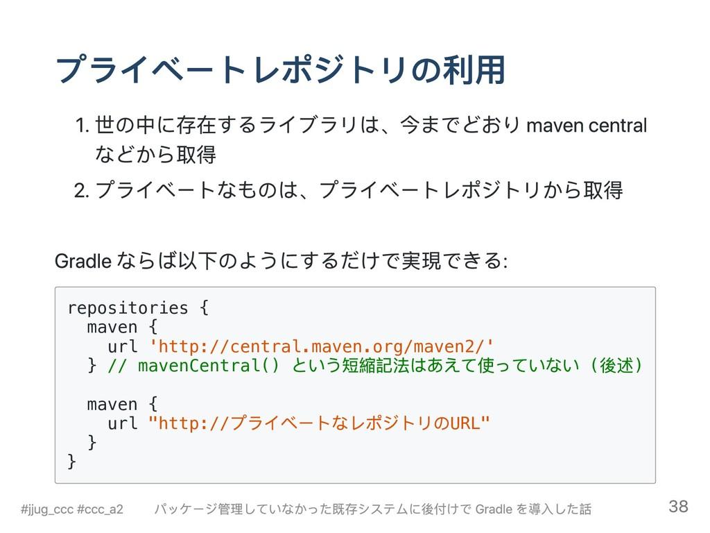 プライベートレポジトリの利用 1. 世の中に存在するライブラリは、今までどおり maven c...