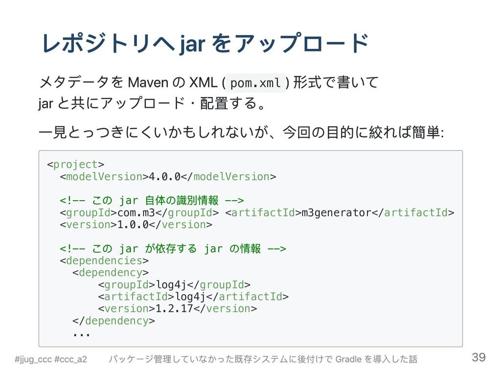 レポジトリへ jar をアップロード メタデータを Maven の XML ( pom.xml...