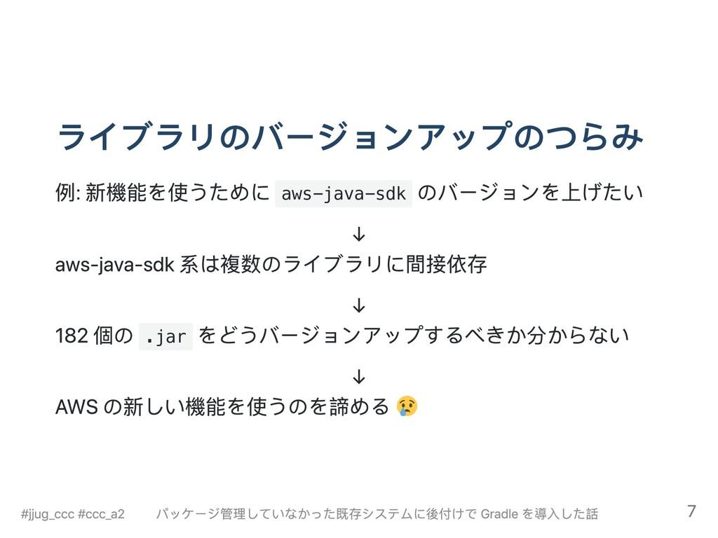 ライブラリのバージョンアップのつらみ 例: 新機能を使うために aws-java-sdk のバ...