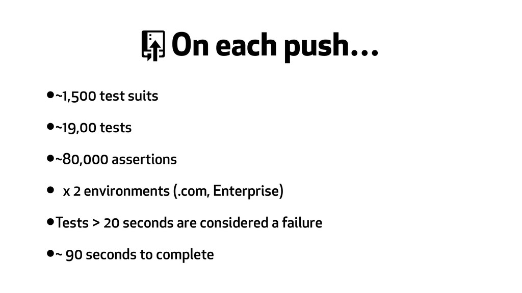 / On each push… •~1,500 test suits •~19,00 test...