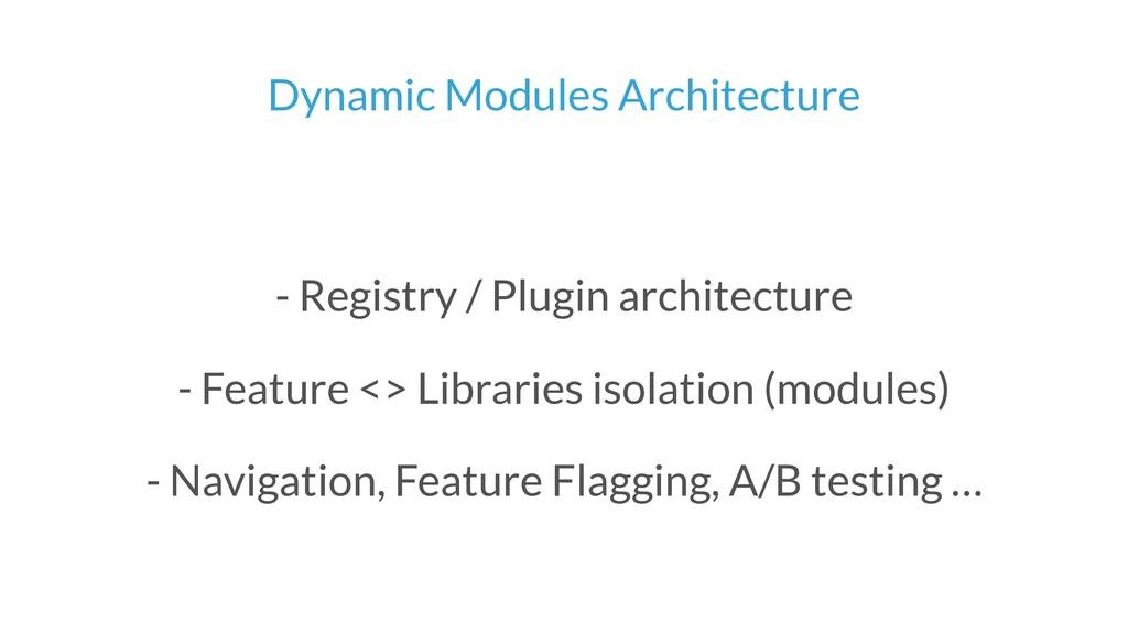Dynamic Modules Architecture - Registry / Plugi...