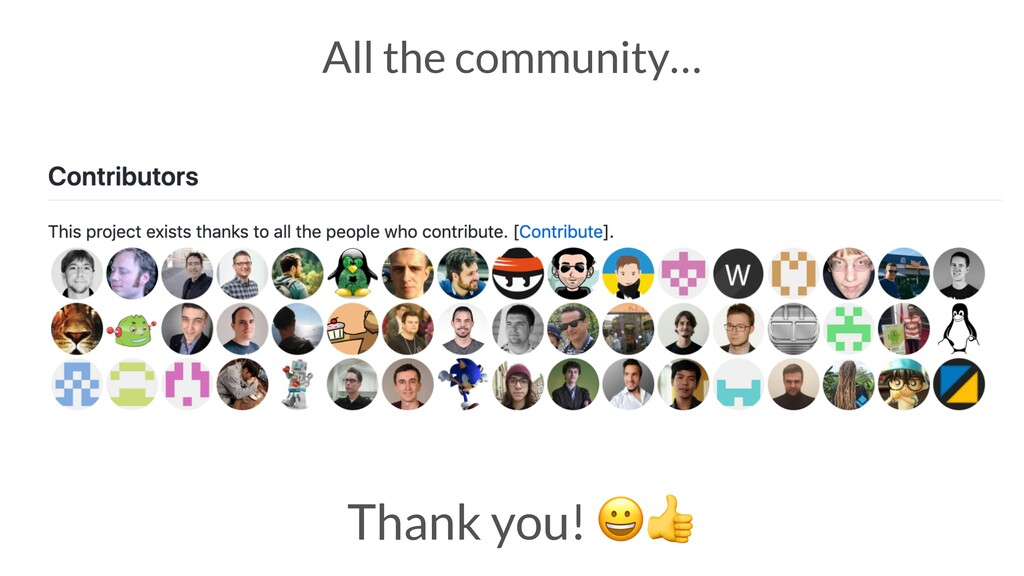 Thank you!  All the community…