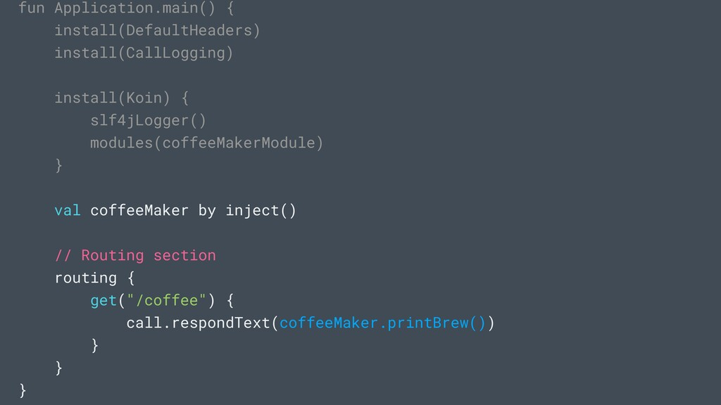 fun Application.main() { install(DefaultHeaders...