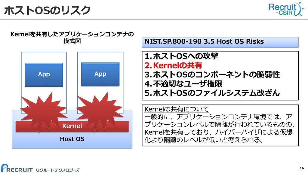 ホストOSのリスク 16 Host OS Kernel Namespace Namespace...