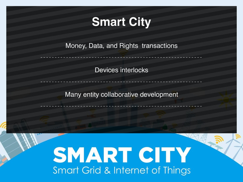 Money, Data, and Rights transactions Smart City...