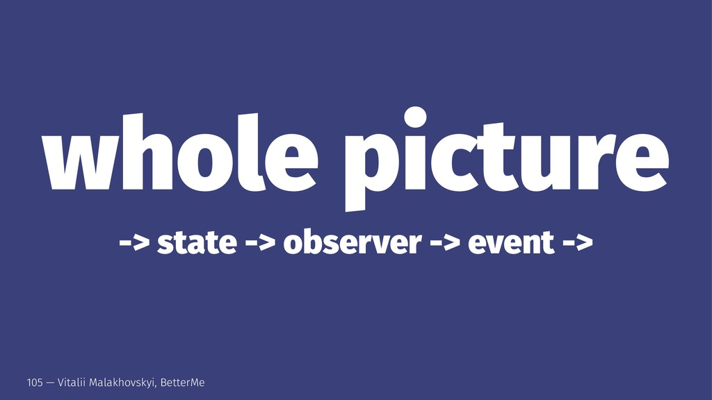 whole picture -> state -> observer -> event -> ...