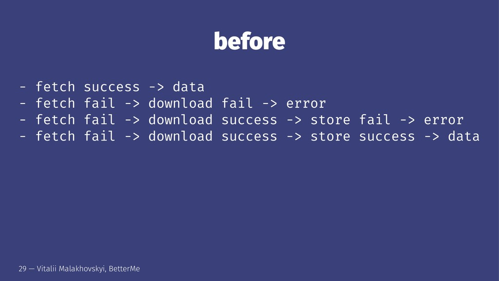 before - fetch success -> data - fetch fail -> ...