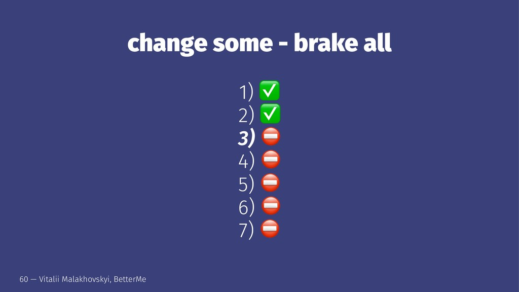 change some - brake all 1) 2) 3) 4) 5) 6) 7) 60...
