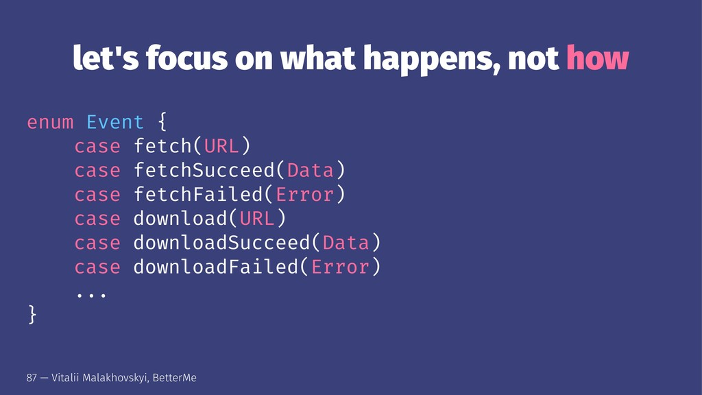 let's focus on what happens, not how enum Event...