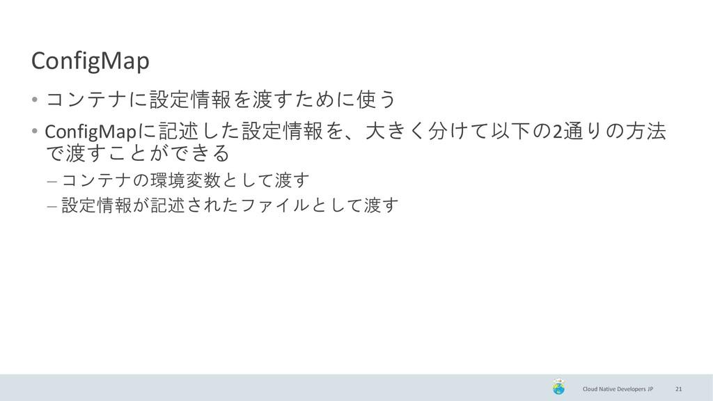 Cloud Native Developers JP ConfigMap • コンテナに設定情...