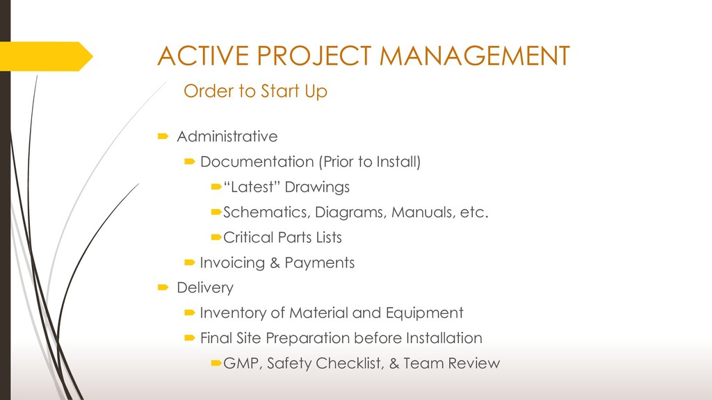 ACTIVE PROJECT MANAGEMENT Order to Start Up  A...