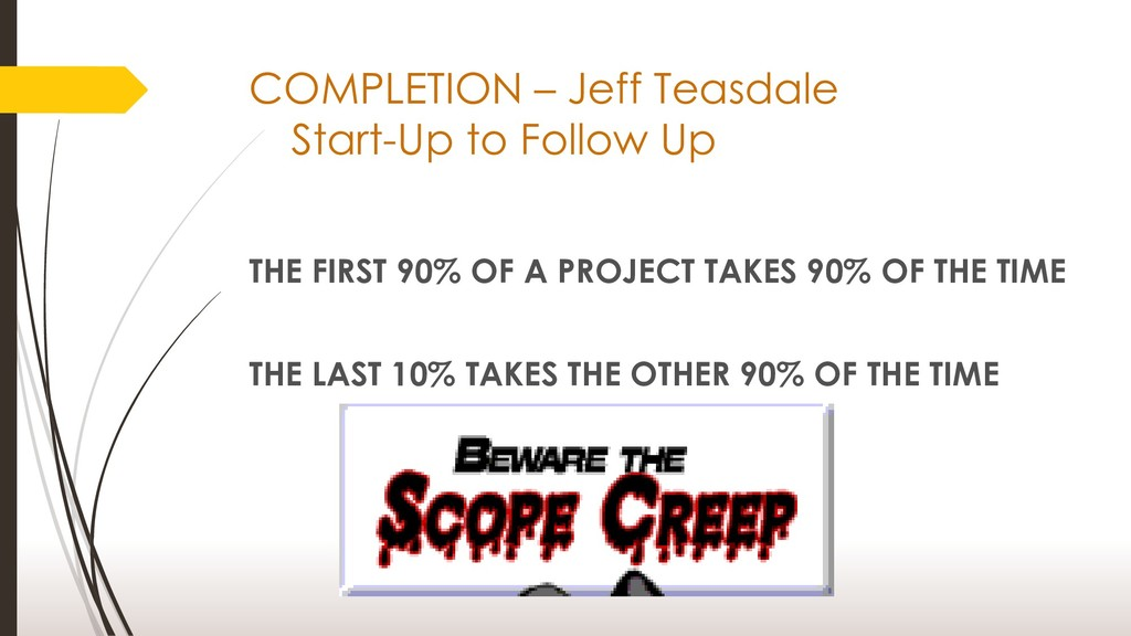 COMPLETION – Jeff Teasdale Start-Up to Follow U...