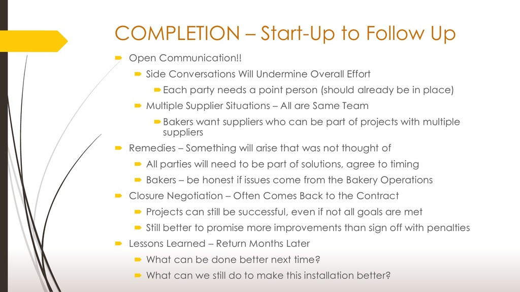 COMPLETION – Start-Up to Follow Up  Open Commu...