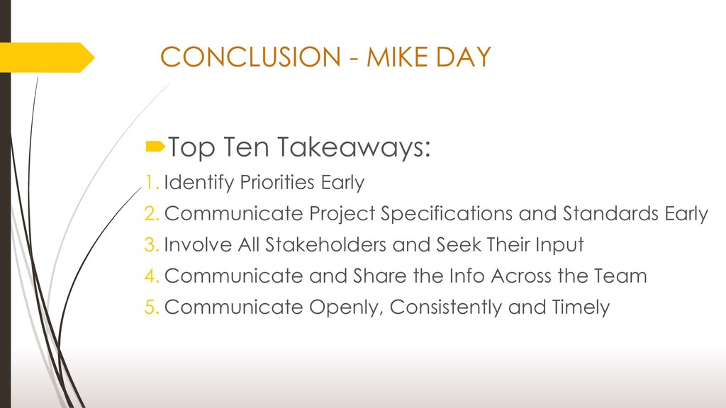 Top Ten Takeaways: 1. Identify Priorities Earl...