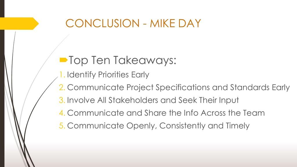 Top Ten Takeaways: 1. Identify Priorities Earl...