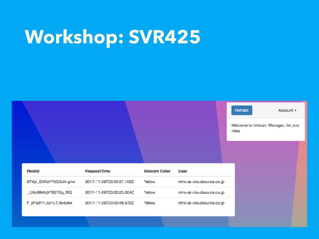 Workshop: SVR425
