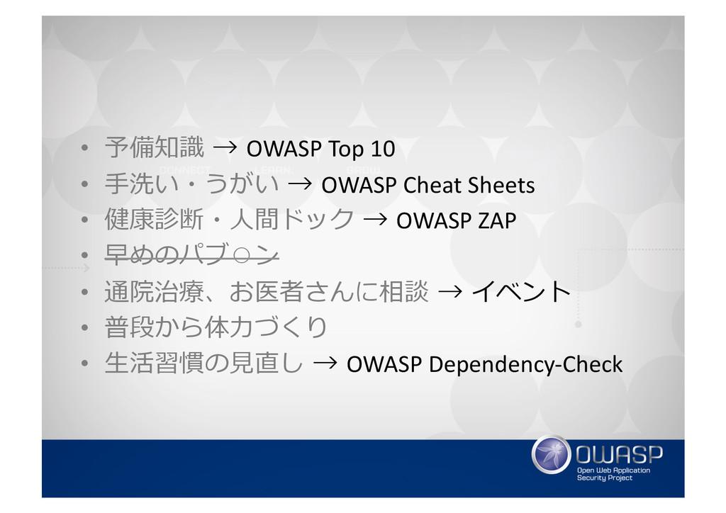 • 予備知識識 → OWASP Top 10  • ⼿手洗い...