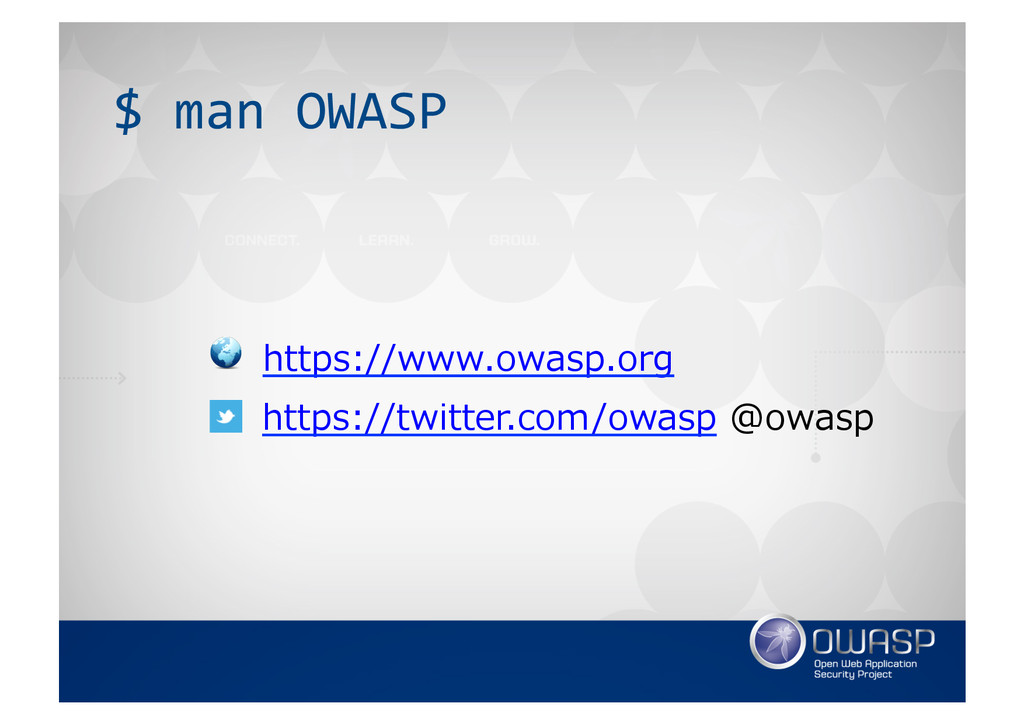 $ man OWASP  https://twitter.com/owasp...