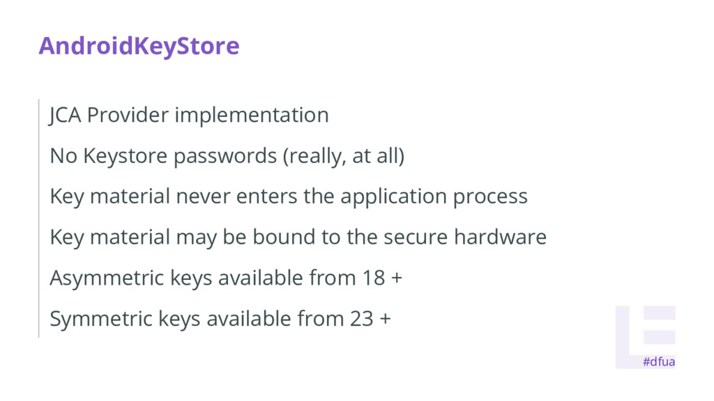 AndroidKeyStore JCA Provider implementation No ...