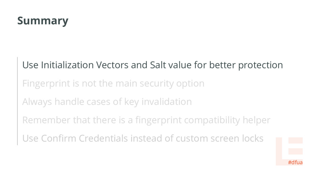 Summary Use Initialization Vectors and Salt val...