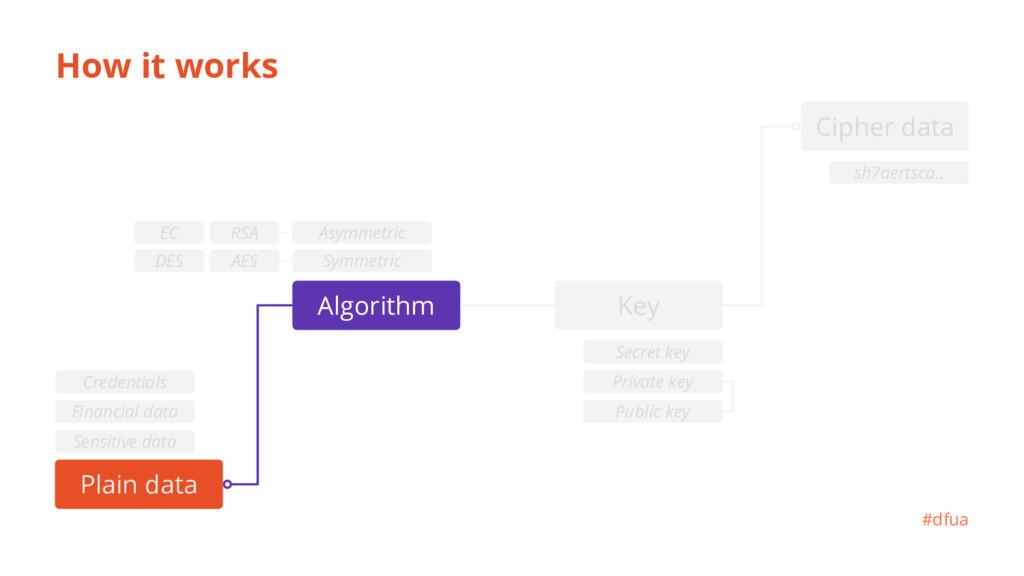 How it works Plain data Algorithm #dfua sh7aert...