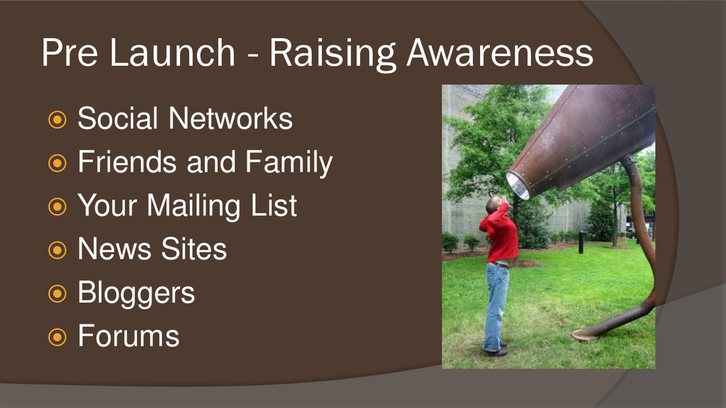 Pre Launch - Raising Awareness  Social Network...
