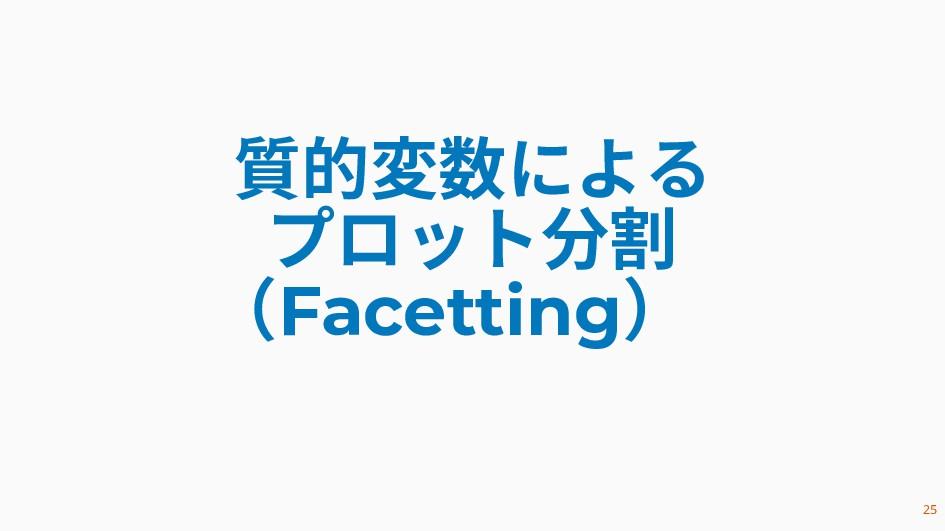 質的変数による プロット分割 (Facetting) 25