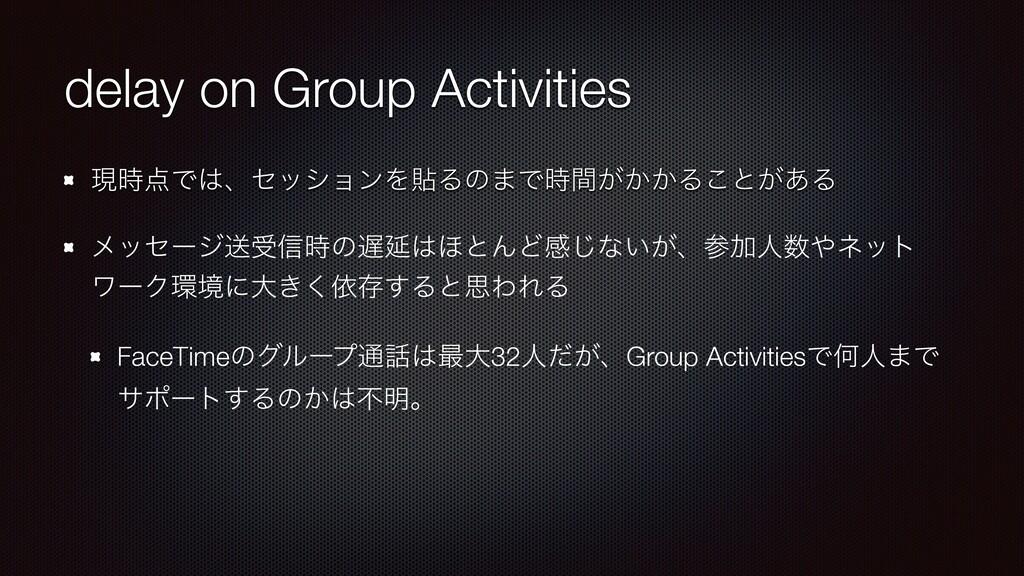 delay on Group Activities ݱͰɺηογϣϯΛషΔͷ·Ͱ͕͔ؒ...