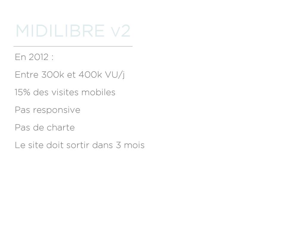 MIDILIBRE V2 En 2012 : Entre 300k et 400k VU/j ...