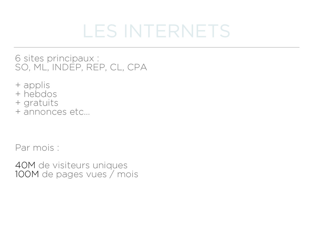 LES INTERNETS 6 sites principaux :