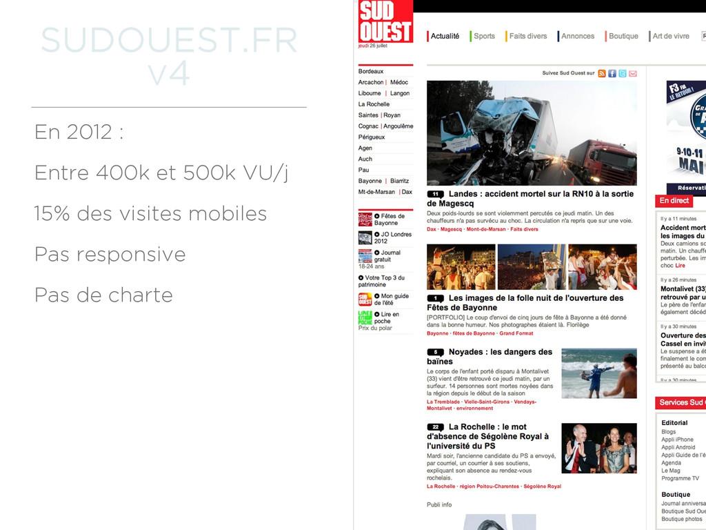 SUDOUEST.FR V4 En 2012 : Entre 400k et 500k VU/...