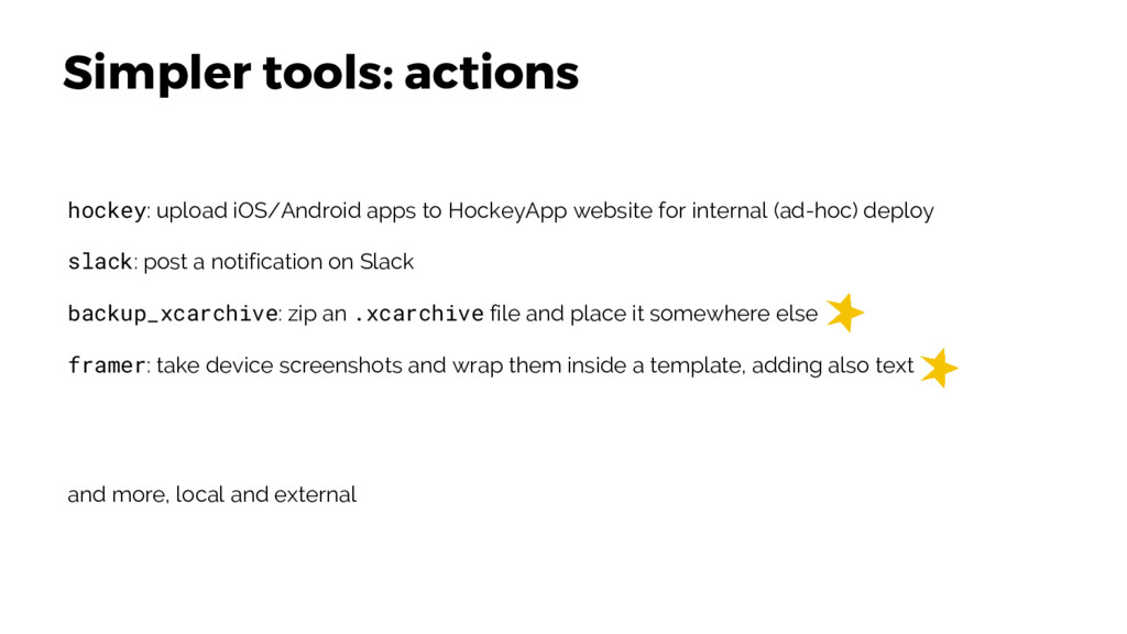 Simpler tools: actions hockey: upload iOS/Andro...