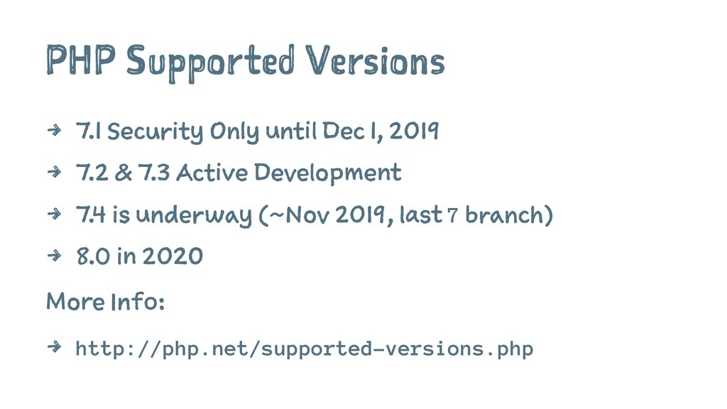PHP Supported Versions 4 7.1 Security Only unti...