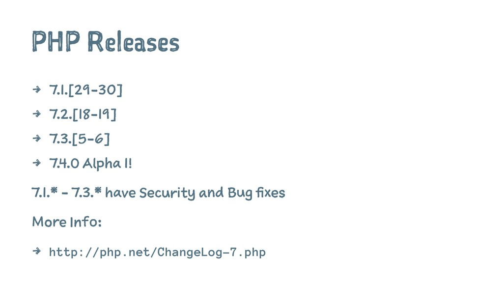 PHP Releases 4 7.1.[29-30] 4 7.2.[18-19] 4 7.3....